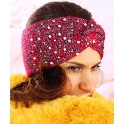 Bandeau turban femme hiver bijoux 301 Rouge Bonnet femme