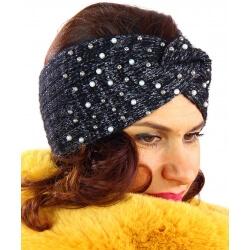 Bandeau turban hiver bijoux noir 301