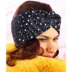 Bandeau turban femme hiver bijoux 301 Noir Bonnet femme