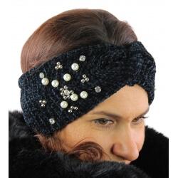 Bandeau turban hiver bijoux noir 305