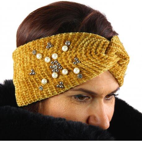 Bandeau turban femme hiver bijoux 305 Moutarde-Bonnet femme-CHARLESELIE94