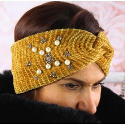 Bandeau turban femme hiver bijoux 305 Moutarde Bonnet femme