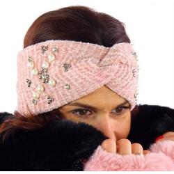 Bandeau turban hiver bijoux rose 305