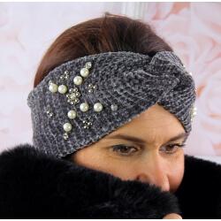 Bandeau turban femme hiver bijoux 305 Gris Bonnet femme
