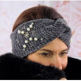 Bandeau turban hiver bijoux gris 305