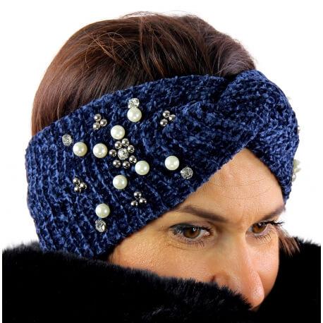 Bandeau turban hiver bijoux bleu 305