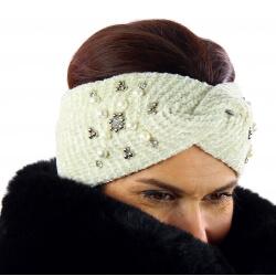 Bandeau turban hiver bijoux beige 305