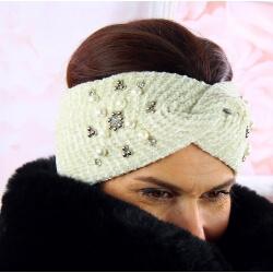 Bandeau turban femme hiver bijoux 305 Beige Bonnet femme