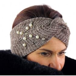 Bandeau turban hiver bijoux taupe 305