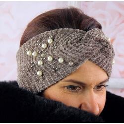 Bandeau turban femme hiver bijoux 305 Taupe Bonnet femme