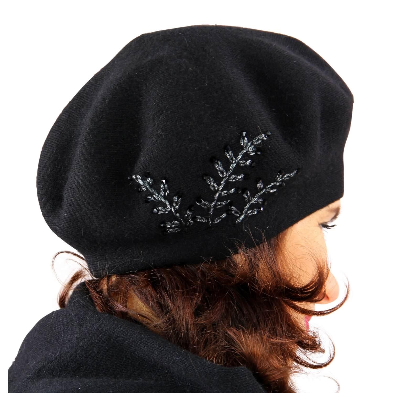 Béret bonnet femme cachemire broderies C68B Noir