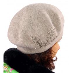 Béret bonnet femme cachemire broderies C68B Taupe-Béret femme-CHARLESELIE94