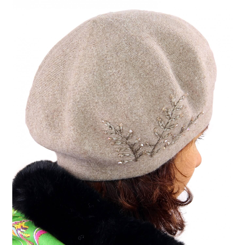 meilleure sélection 1cdb9 76162 Béret bonnet femme cachemire broderies taupe C68B