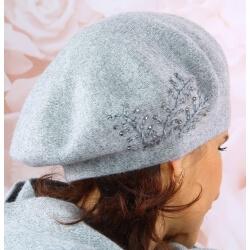 Béret bonnet femme cachemire broderies C68B Gris Béret femme