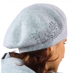 Béret bonnet femme cachemire broderies gris C68B