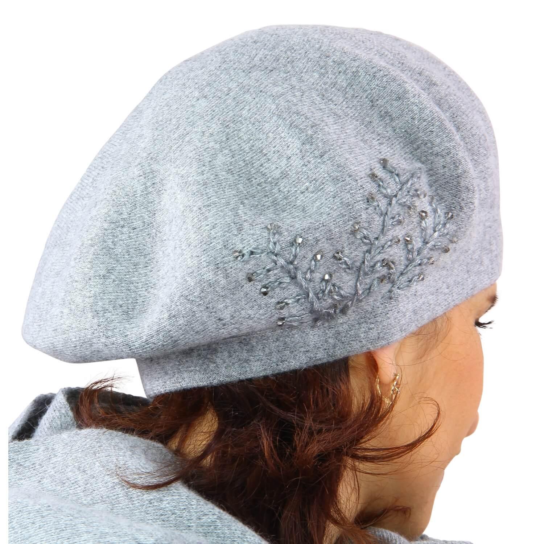 la moitié 7d904 65208 Béret bonnet femme cachemire broderies gris C68B