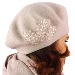 Béret bonnet femme cachemire broderies rose C68B