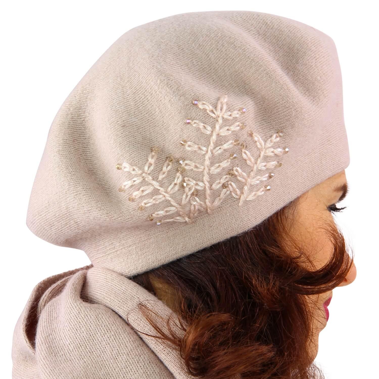 photos officielles d951b 7ec43 Béret bonnet femme cachemire broderies rose C68B