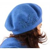 Béret bonnet femme cachemire broderies bleu C68B