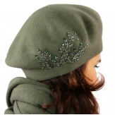 Béret bonnet femme cachemire broderies kaki C68B