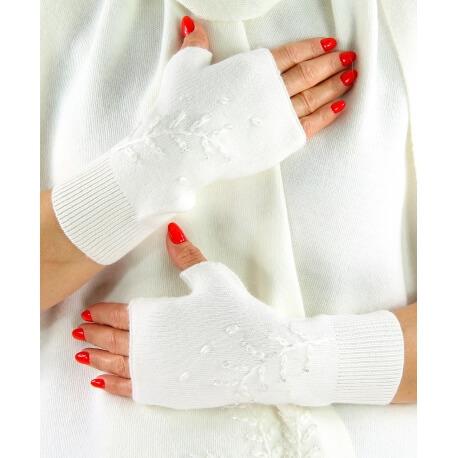 Gants mitaines femme cachemire broderies blanc C68G