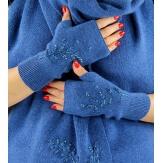 Gants mitaines femme cachemire broderies bleu C68G