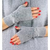 Gants mitaines femme cachemire broderies gris C68G