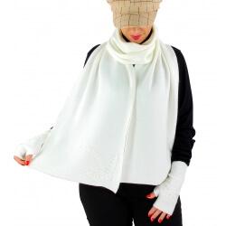Écharpe étole femme cachemire broderies C68E Blanc ivoire-Écharpe cachemire femme-CHARLESELIE94
