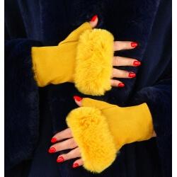Gants mitaines fausse fourrure hiver jaune 3106