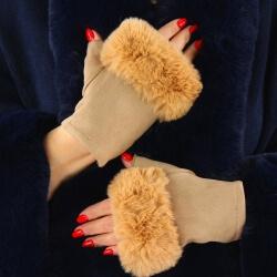 Gants mitaines fausse fourrure hiver camel 3106