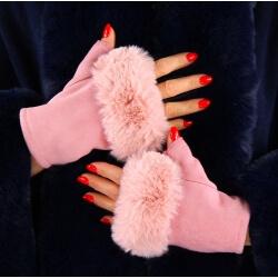 Gants mitaines fausse fourrure hiver rose 3106