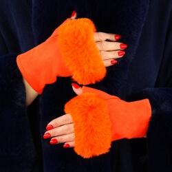 Gants mitaines fausse fourrure hiver orange 3106