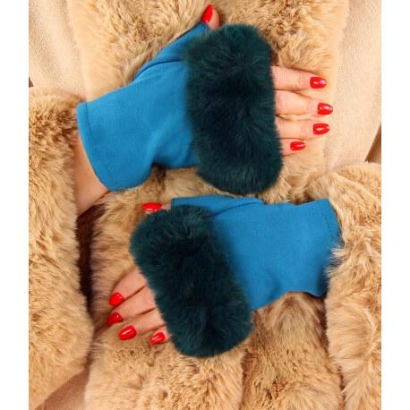 Gants mitaines fausse fourrure hiver bleu canard 3106