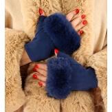 Gants mitaines fausse fourrure hiver bleu marine 3106