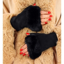 Gants mitaines fausse fourrure hiver noir 3106