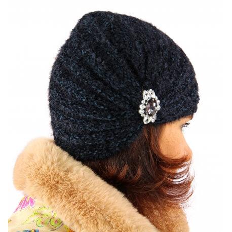Bonnet turban femme hiver bijoux noir 304