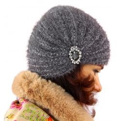 Bonnet turban femme hiver bijoux gris 304