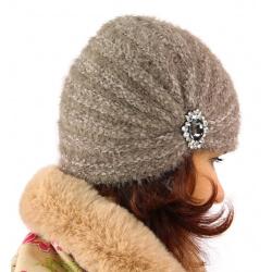 Bonnet turban femme hiver bijoux 304 Taupe-Bonnet femme-CHARLESELIE94