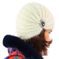 Bonnet turban femme hiver bijoux beige 304