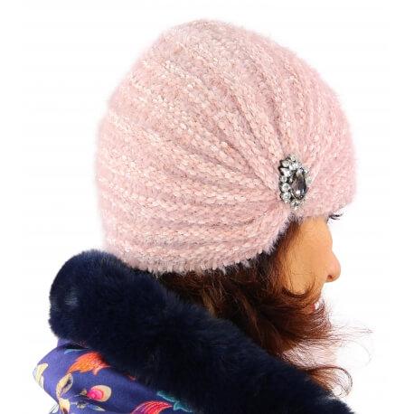 Bonnet turban femme hiver bijoux rose 304