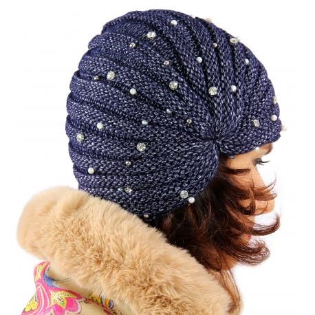 Bonnet turban femme hiver bijoux bleu 303