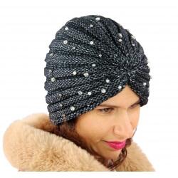 Bonnet turban femme hiver bijoux 303 Noir-Bonnet femme-CHARLESELIE94