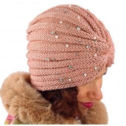 Bonnet turban femme hiver bijoux rose 303