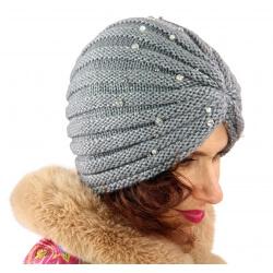 Bonnet turban femme hiver bijoux gris 303