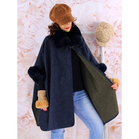 Cape manteau grande taille laine fourrure RUBY Bleu marine Cape femme