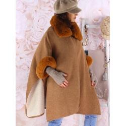 Cape manteau grande taille laine fourrure RUBY Camel Cape femme