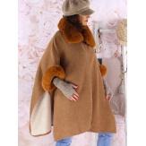 Cape manteau grande taille laine fourrure RUBY Camel-Cape femme-CHARLESELIE94