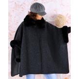 Cape manteau grande taille laine fourrure noir RUBY