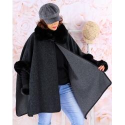 Cape manteau grande taille laine fourrure RUBY Noir Cape femme