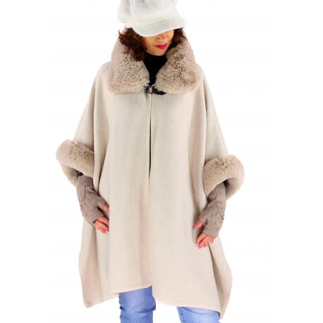 Cape manteau grande taille laine fourrure beige RUBY